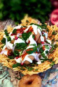 Yoğurt soslu patates sepeti