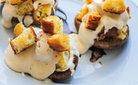 Peynir kremalı mantar ve kruton ekmek