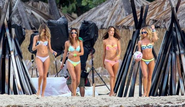 Victoria's Secret 2015 bikini çekimleri kamera arkası