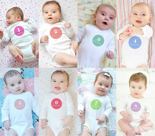 Bebeklerinin ay ay gelişimlerini fotoğraflayarak kaydeden anne ve babaların çalışmaları... Ay ay bebek gelişimi