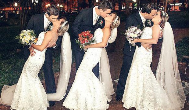Üçüzler aynı düğünle evlendi