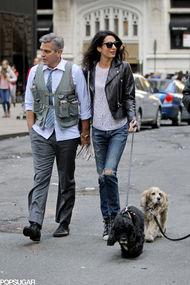 Clooney çifti yürüyüşte