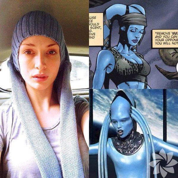 Yasemin Allen'ın Instagram'da paylaştığı eğlenceli kareler.  Yasemin Allen: Boğazlı kazağımı çıkarırken yanlışlıkla cosplay moduna girmek.