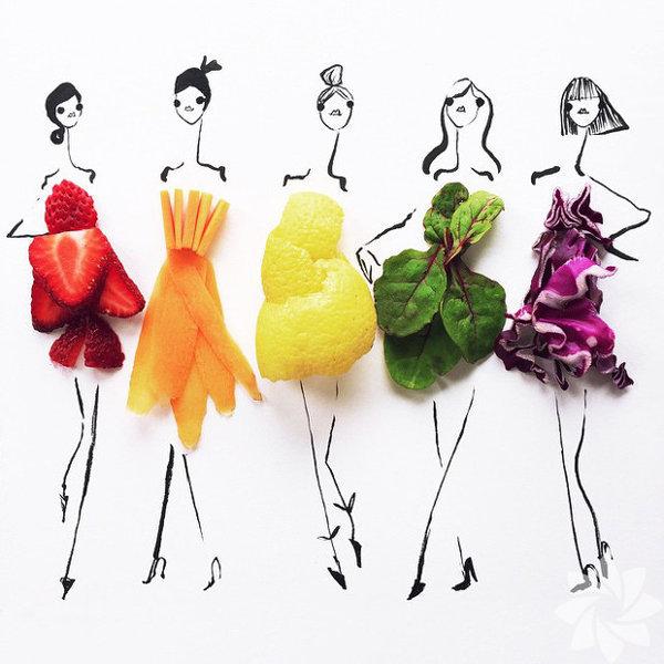 Meyvelerden ve sebzelerden şık mı şık elbiseler...