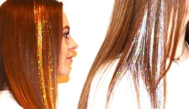 Parıltılı ve simli saç teli