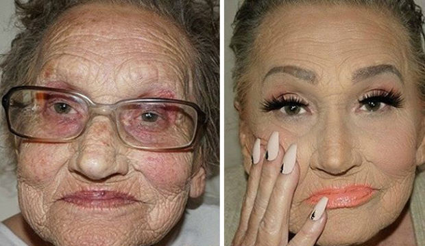 80 yaşındaki ninesine makyaj yaptı