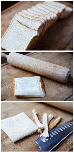 Peynirli kızarmış ekmekler ile pazar kahvaltılarınıza yeni bir soluk katmaya ne dersiniz? İhtiyacınız olan malzemeler: Tost ekmeği, isteğe bağlı çedar veya kaşar peyniri... Tost ekmeklerin kenarlarını kesin ve merdane ile üzerinden geçin.