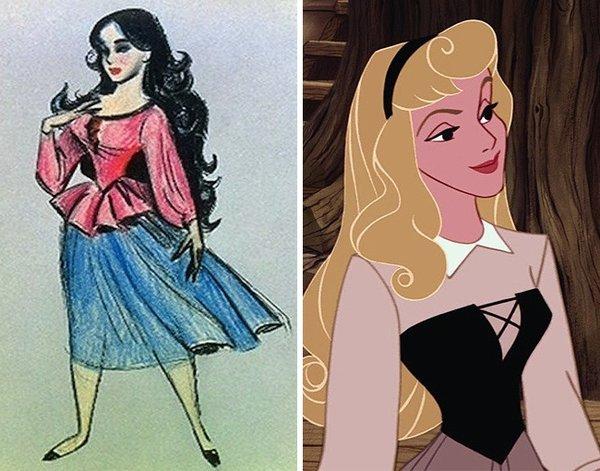 Bir karakterin hikayesi ilk önce eskizleri ile başlar ve zamanla değişir. Örneğin; Rapunzel veya Uyuyan Güzel'in ilk çizimleri bugünkünden epeyce farklıydı. Prenses Aurora -Uyuyan güzel