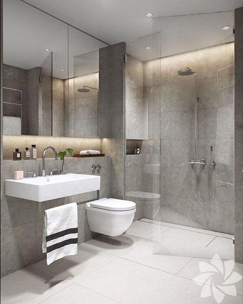 Banyosu küçük olanlar için öneriler... Küçük banyolarda duvarın bir tanesinde özellikle lavabonun arkasında duvarı komple ayna ile kaplamak algıyı değiştirebiliyor.
