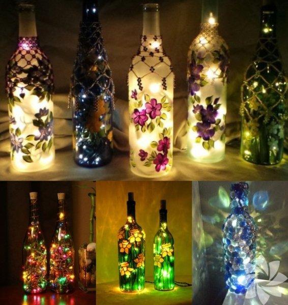 Başucu lambası Cam şişenin içine led aydınlatmalar yerleştirerek başucu lambası yapmaya ne dersiniz?